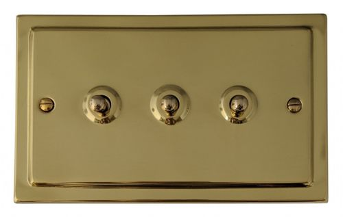 G&H TB283 Trimline Plate Polished Brass 3 Gang 1 or 2 Way Toggle Light Switch
